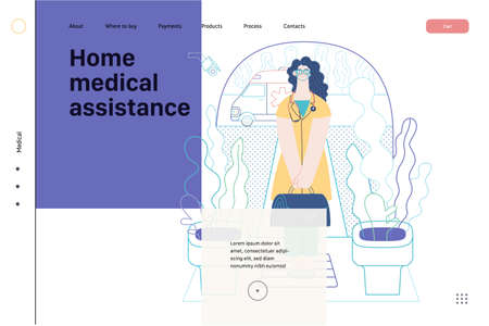 Medical insurance template -home medical assistance -modern flat vector concept digital illustration -nurse standing at the private residence entrance door Home medical service, part of insurance plan