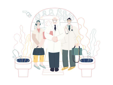Medical insurance -specialists visit -modern flat vector concept digital illustration - medical specialists standing at the private residence entrance door Home medical service, part of insurance plan