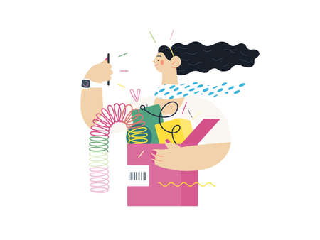 Discounts, sale, promotion - online shopping- modern flat vector concept illustration of a young woman holding a box full of goods. Delivery and online orders concept.