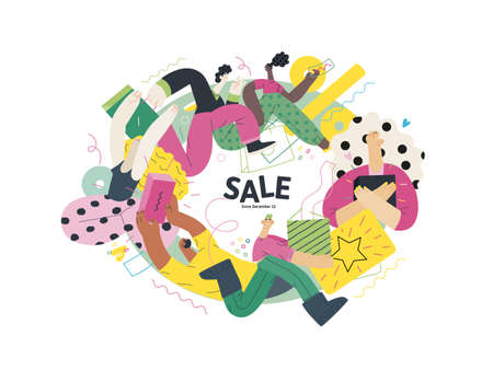 Discounts, sale, promotion vignette - modern flat vector concept illustration of people crowd running in the pursuit of the discounts, with a big percent sign on the background Vektorové ilustrace