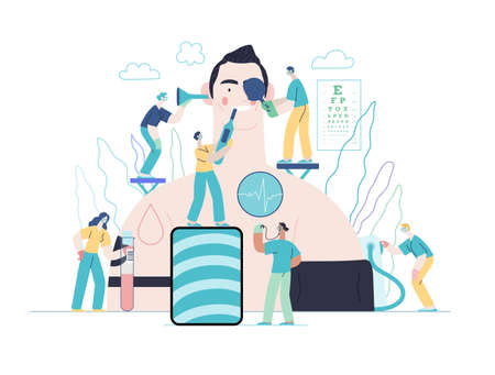 Annual health checkups. modern flat vector concept digital illustration. doctors examing male patient checking hearing, vision, heart, lungs, blood pressure, blood test.