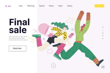 Discounts, sale, promotion, web template. Modern flat vector concept illustration of a man and a woman running in the pursuit of the discounts, with a big percent sign on the background. Final sale