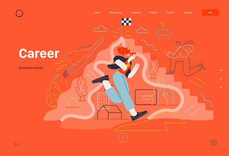Business topics - career, web template, header. People climbing the mountain. Climbing up the career ladder process. Business metaphor.