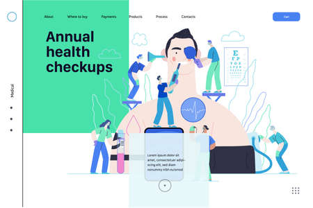Annual health checkups. medical insurance web template. Doctors examing male patient checking hearing, vision, heart, lungs, blood pressure, blood test.