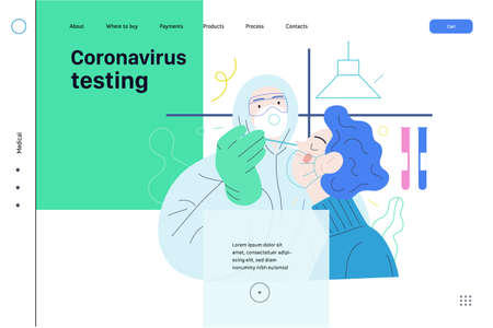 Medical tests web template. Testing for COVID-19. A patient and doctor wearing protective suit and respirator, the medical laboratory.