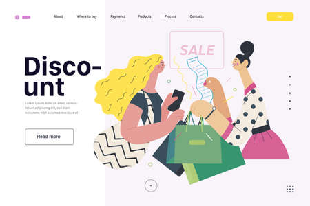Discounts, sale, promotion - web template - cash desk - modern flat vector illustration concept of a customer and a shop assistant. Selling interaction and purchasing process. Discount