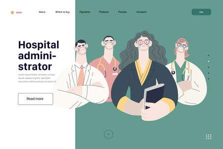 Medical insurance illustration -hospital administrator -modern flat vector concept digital illustration - a female hospital administrator with a team of doctors concept, medical office or laboratory 矢量图像