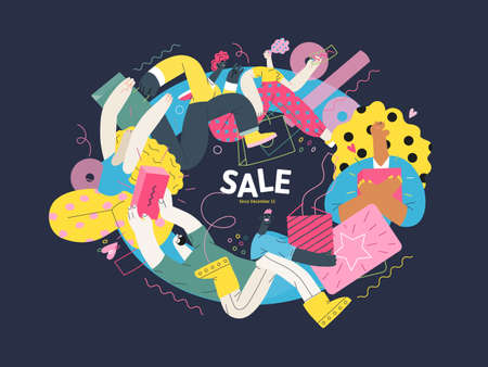 Discounts, sale, promotion vignette - modern flat vector concept illustration of people crowd running in the pursuit of the discounts, with a big percent sign on the background