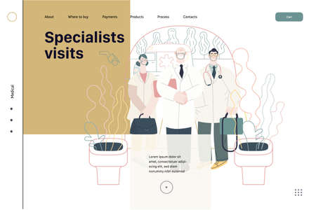Specialists visit. Medical specialists standing at the private residence entrance door Home medical service, part of insurance plan. Vector Illustratie