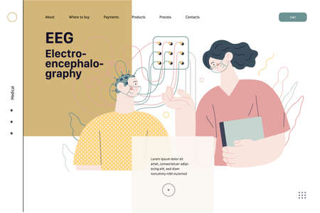 EEG, electroencephalography. Modern flat vector concept digital illustration of encephalography procedure. A patient with head electrodes and doctor in medical office.