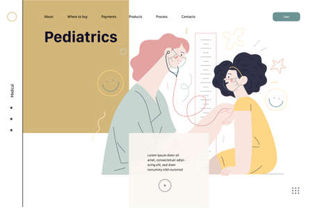 Pediatrics - medical insurance -modern flat vector concept digital illustration - female pediatrician carrying out the auscultation of a little girl with a stethoscope, medical office or laboratory