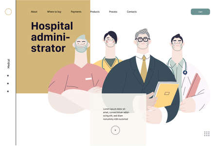 Medical insurance illustration -hospital administrator -modern flat vector concept digital illustration - a male hospital administrator with a team of doctors concept, medical office or laboratory