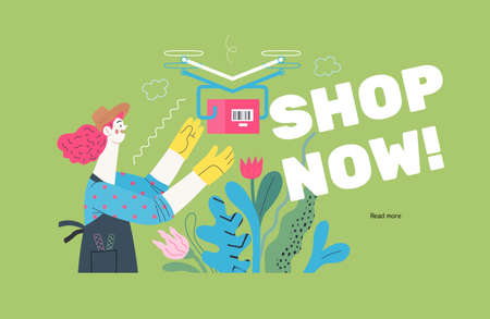 Discounts, sale, promotion -delivery -modern outlined flat vector concept illustration of a woman doing gardening job, wearing apron and gloves receiving an online order shipped with a drone. Shop now Ilustração