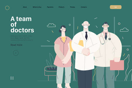 Medical insurance -medical guide -modern flat vector concept digital illustration - medical specialists standing together, team of doctors concept, medical office or laboratory