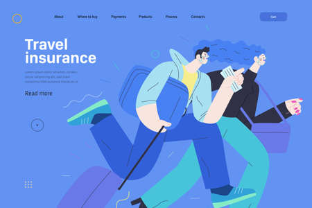 Travel insurance. Modern flat vector concept digital illustration. Harrying young couple running with suitcases in the airport rush. Ilustração