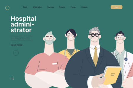 Hospital administrator. A male hospital administrator with a team of doctors concept, medical office or laboratory. Ilustração