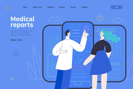 Medical insurance web page template. Patient and a doctor using medical application with reports and test results, metaphor. Ilustração