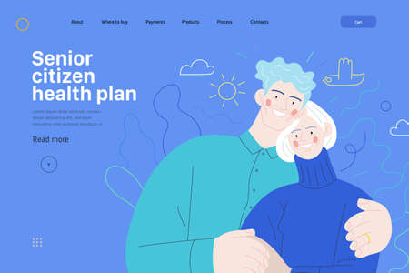 Medical insurance web page template -senior citizen health plan -modern flat vector concept digital illustration of a happy elderly embracing couple, medical insurance plan Ilustração