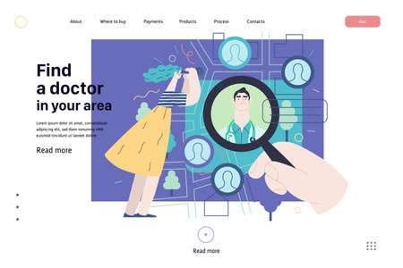Find a doctor. Modern flat vector concept digital illustration. Hand with a magnifying glass, woman with binocular, doctors portraits. A doctor searching metaphor. Ilustração