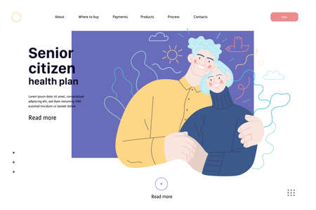 Medical insurance web page template. Senior citizen health plan. Modern flat vector concept digital illustration of a happy elderly embracing couple, medical insurance plan. Ilustração