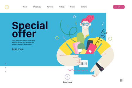 Online shopping web template. Modern flat vector concept illustration of a young man holding a box full of goods. Delivery and online orders concept. Special offer caption.
