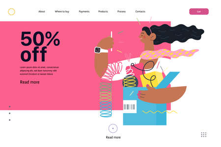 Online shopping web template. modern flat vector concept illustration of a young woman holding a box full of goods. Delivery and online orders concept. 50 percents off.