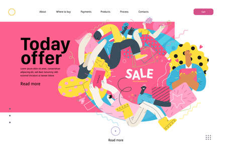 Discounts, sale, promotion vignette - web template - modern flat vector concept illustration of people crowd running in the pursuit of the discounts, with a big percent sign. Today sale