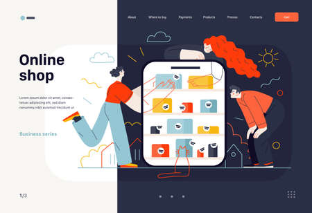 Business topics -online shopping, web template, header. Flat style modern outlined vector concept illustration. Tablet, shop shelves, boxes. People taking and looking at the goods. Business metaphor