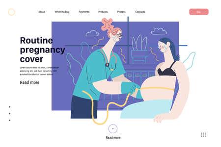 Medical insurance web page template -routine pregnancy cover -modern flat vector concept digital illustration - pregnant woman at obstetrician reception, tape measuring process, medical insurance plan Vektoros illusztráció