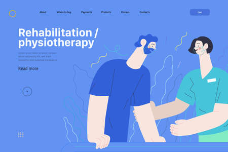 Medical insurance web page template- rehabilitation and physiotherapy -modern flat vector illustration -physiotherapist helps patient walking using training parallel bars, medical office, laboratory