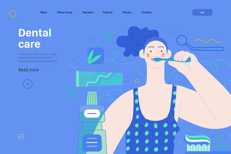 Medical insurance web page template -dental care -modern flat vector concept illustration of helthy teeth -woman brushing teeth, mint dental floss, tothbrush, toothpaste, mouthwash, dentist tool  イラスト・ベクター素材
