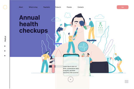 Annual health checkups -medical insurance web template -modern flat vector concept digital illustration -doctors examing male patient checking hearing, vision, heart, lungs, blood pressure, blood test