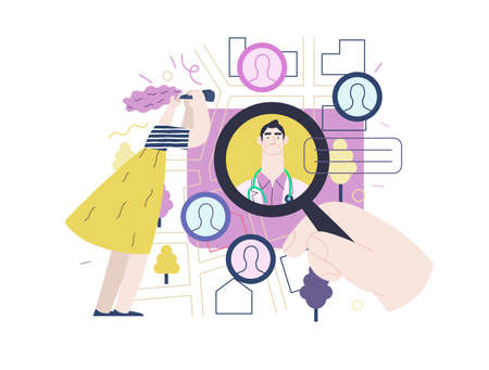 Find a doctor -medical insurance illustration -modern flat vector concept digital illustration - a hand with a magnifying glass, a woman with binocular, doctors portraits - a doctor searching metaphor 矢量图像