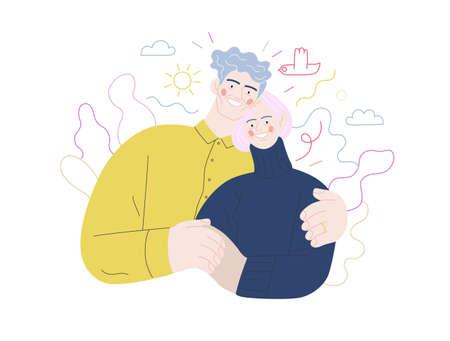 Medical insurance illustration -senior citizen health plan -modern flat vector concept digital illustration of a happy elderly embracing couple, medical insurance plan