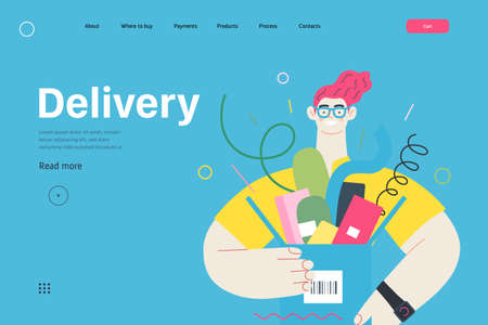 Discounts, sale, promotion - online shopping web template - modern flat vector concept illustration of a young man holding a box full of goods. Delivery and online orders concept. Delivery caption