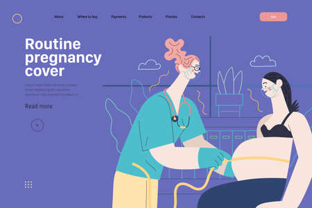 Medical insurance template - routine pregnancy cover. Modern flat vector 일러스트