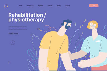 Medical insurance illustration - rehabilitation and physiotherapy. Modern flat vector