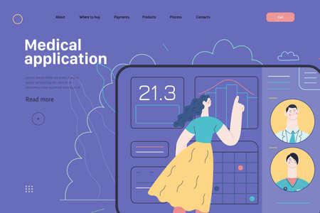 Medical insurance template - medical application. Modern flat vector