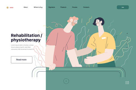 Medical insurance illustration, rehabilitation and physiotherapy. Flat vector