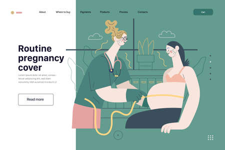 Medical insurance template, routine pregnancy cover. Flat vector