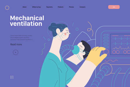 Mechanical ventilation - medical insurance illustration. Modern flat vector 矢量图像