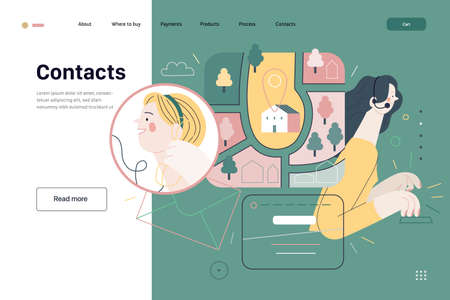 Medical insurance template - clinic contacts. Flat vector