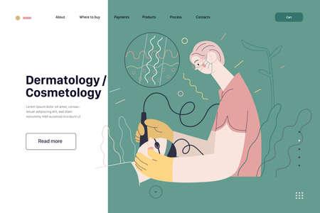 Dermatology, cosmetology - medical insurance web page template 矢量图像