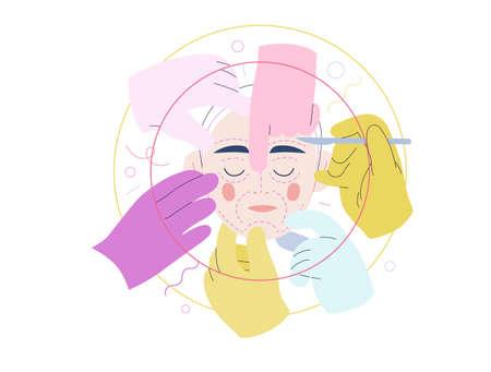 Medical insurance illustration - cosmetic, plastic, aesthetic surgery