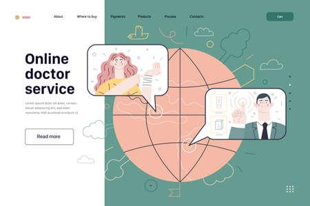 Medical insurance template - online doctor service. Modern flat vector
