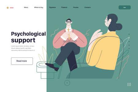 Medical tests template - psychological support. Modern flat vector 矢量图像