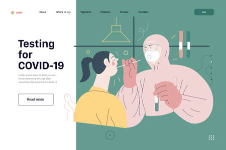 Medical tests web page template - testing for COVID-19