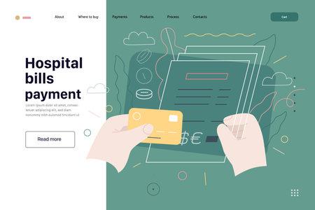 Medical insurance template - hospital bills payment. Modern flat vector 矢量图像
