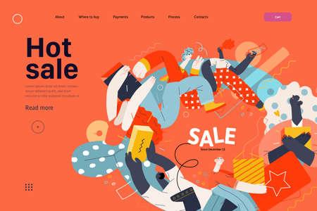 Hot Sale design web template. Flat vector