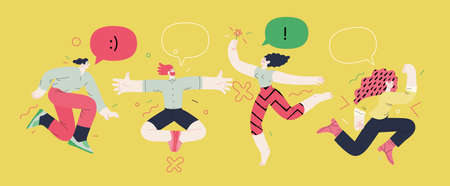 Happiness - happy people jumping in the air cheerfully Ilustracja